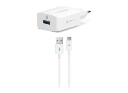 Ttec 8694470658834 SpeedCharger QC Travel Charger With Type-C Cable,White