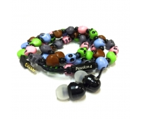Passion4 1053-Skull Beads Bracelet Earphone With Small Mic.