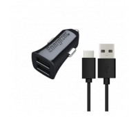 Energizer Hightech Car Charger 2USB + USB Cable TypeC  Black