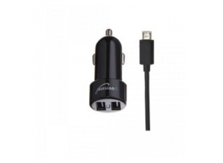 Passion4 1003 USB Car Charger With Micro Cable,Black