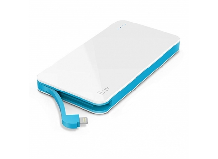 LUV MYPOWER50LWH COMPACT PORTABLE 5000MAH POWER BANK BUILT LIGHTNING CABLE