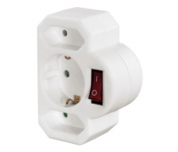Hama HM108846 3-Way Multi-Plug, 2 Euro/1 socket with earth c